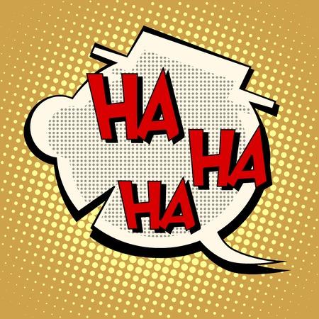 Comic bubble head laughter ha-ha-ha pop art retro style. Humor and Comedy. The illustration in the book. Silhouette head of a clown