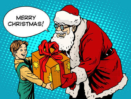 child boy: Merry Christmas Santa Claus gift gives the child pop art retro style. The holidays New year and Christmas. Childhood and congratulation. Magic character