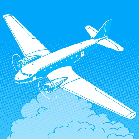 airport cartoon: Airplane in the clouds vintage retro travel flights pop art style. Machine and aircraft construction. Travel and tourism business industry