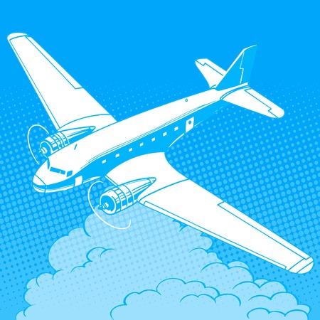 reise retro: Flugzeug in den Wolken Retro Reise Flüge Pop-Art-Stil. Maschinen- und Flugzeugbau. Reisen und Tourismus Business Industrie Illustration
