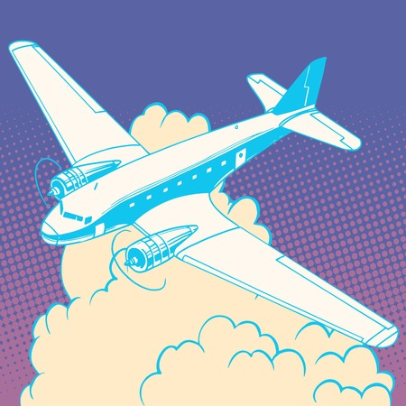 Airplane in the clouds vintage retro travel flights pop art style. Machine and aircraft construction. Travel and tourism business industry