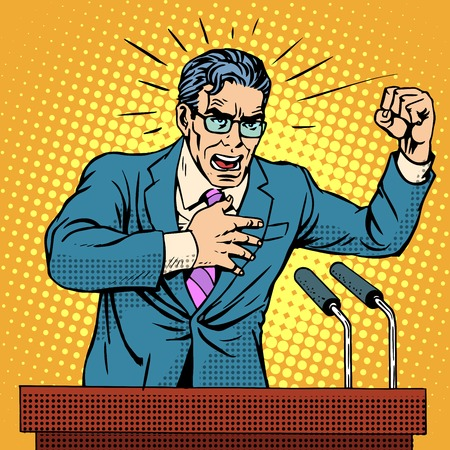 dictator: Election campaign policy candidate at the podium speech pop art retro style. Election promises. Candidate to Parliament, the presidency or the Senate. A middle-aged man. Hate speech