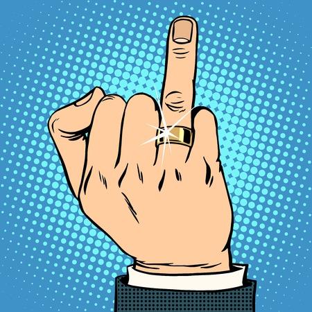 anillo de boda: Novio de la boda del estilo del arte pop retro anillo de oro. Hombre amor matrimonio y la familia. Joyería
