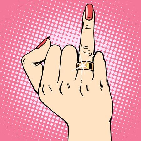 enamorados caricatura: estilo de novia de la boda del anillo de oro del arte pop retro. El matrimonio de la mujer el amor la vida. Joyer�a