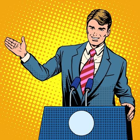 Beleid kandidaat in de verkiezingen pop art retro stijl. De man op het podium spreekt. verkiezingsbeloften