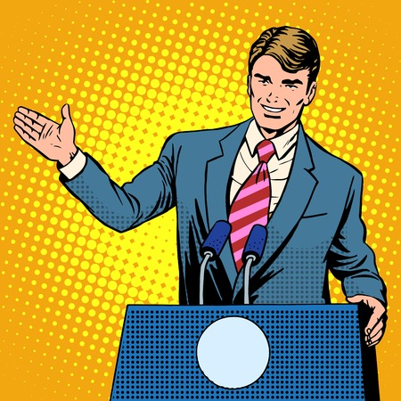 Policy candidate in the elections pop art retro style. The man at the podium speaks. Election promises