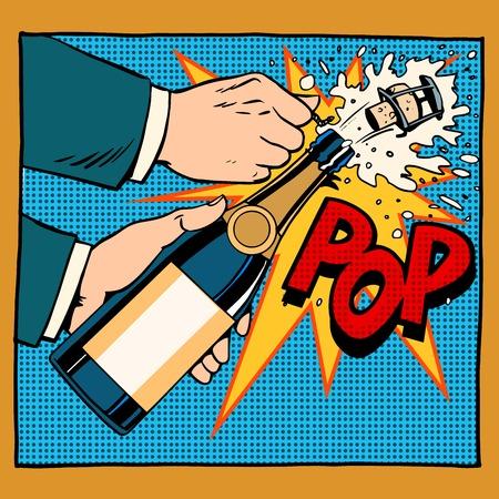 축하: 개방 샴페인 병 팝 아트 복고 스타일. 결혼식, 기념일, 생일 또는 새 해. 알코올성 음료 와인 레스토랑. 음주. 승리의 폭발 거품 튜브 순간. 당신의 브랜