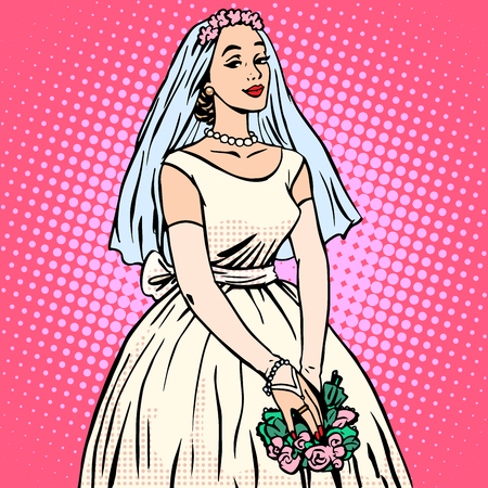 Bride in white wedding dress pop art retro style. Beautiful woman. Tradition and celebration. Love, marriage and romance