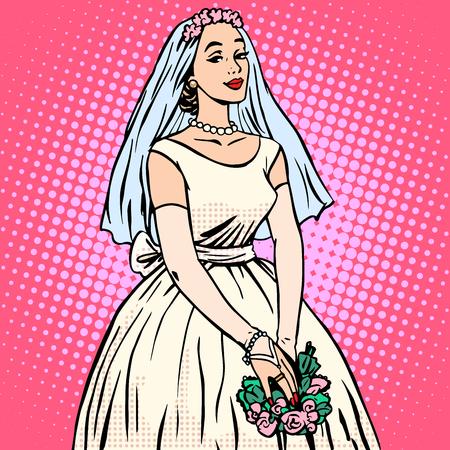 enamorados caricatura: Novia en vestido de novia estilo retro pop art blanco. Mujer hermosa. La tradici�n y la celebraci�n. Amor, el matrimonio y el romance