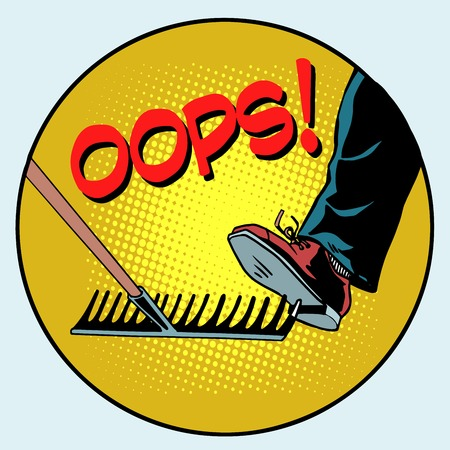 dangers: To step on a rake. Failure and problems pop art retro style. The business concept is a bad way, bad decision Illustration