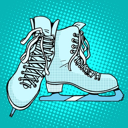 hockey skates: Skates winter sports pop art retro style. Hockey and figure skating, running on ice. Leisure and competitions
