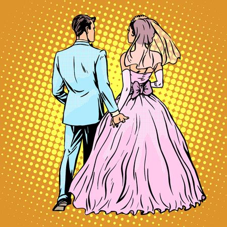 新郎花嫁結婚式愛ポップ アート レトロなスタイル。男と女の結婚。リアビュー。バック スタンドします。式典やイベント