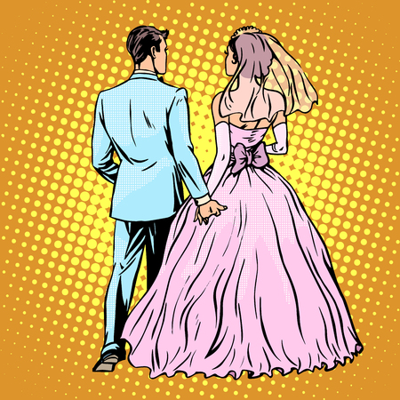 ceremonies: Groom bride wedding love pop art retro style. Man and woman in marriage. Rear view. Stand back. Ceremonies and events Illustration