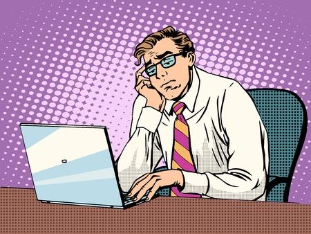 Obchodník pracující na přenosném nuda pop art retro stylu. Počítače, kancelářské práce. Člověk a moderní technologie