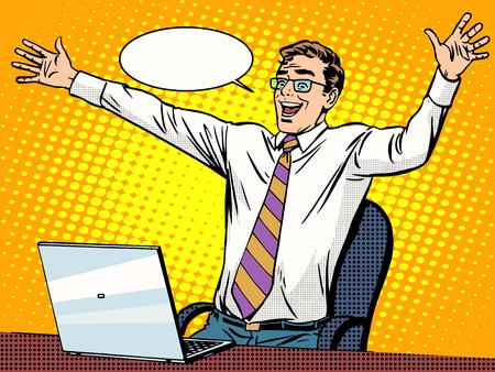 coiffer: succès Homme d'affaires travaillant sur ordinateur portable pop art style rétro. Ordinateurs et travail de bureau. L'homme et la technologie moderne