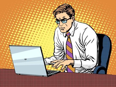 Negocios que trabajan en el estilo del arte pop retro portátil. Las computadoras y el trabajo de oficina. El hombre y la tecnología moderna Foto de archivo - 49924689