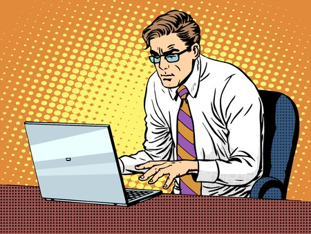 Businessman working on laptop pop art retro style. Computers and office work. Man and modern technology Illustration