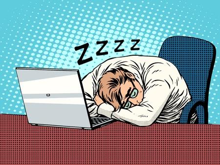 ビジネスマンはノート パソコン pop アート レトロなスタイルに取り組んでいます。疲労睡眠ハードワーク。コンピューターおよび事務作業。男と現