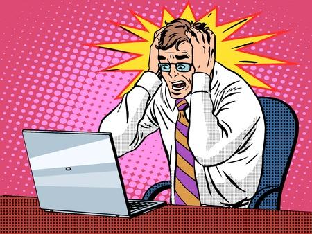 ビジネスマンはノート パソコン pop アート レトロなスタイルに取り組んでいます。悪いニュースのパニックは財政的に失敗です。コンピューターお