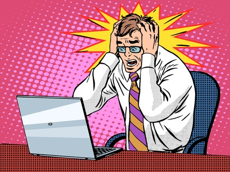 computadora caricatura: Empresario de trabajo en la computadora portátil del estilo del arte pop retro. Pánico Malas noticias es un fracaso financiero. Computadoras y trabajo de oficina. El hombre y la tecnología moderna