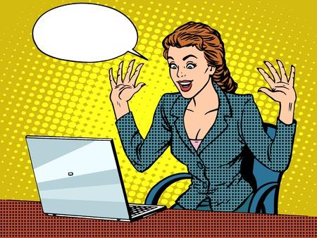 Glückliche Geschäftsfrau mit Laptop-Pop-Art Retro-Stil. Am Computer arbeiten. Die Wirtschaft und Technik. Gute Nachrichten. Menschen im Büro