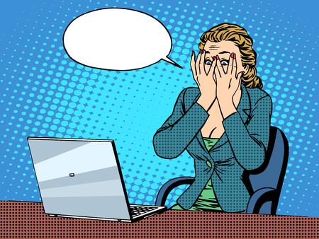 Geschäftsfrau mit Laptop schlechten Nachrichten Pop-Art Retro-Stil. Die Wirtschaft und Technik. Emotionen und Gefühle. Büroarbeit Vektorgrafik