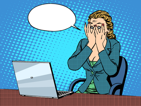 Businesswoman with laptop bad news pop art retro style. The business and technology. Emotions and feelings. Office work
