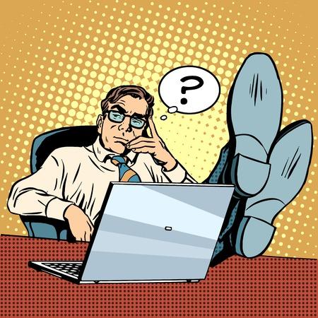 Domande e pensieri Uomo d'affari al computer portatile pop art stile retrò. La soluzione del problema. processo creativo. Lavoro in ufficio