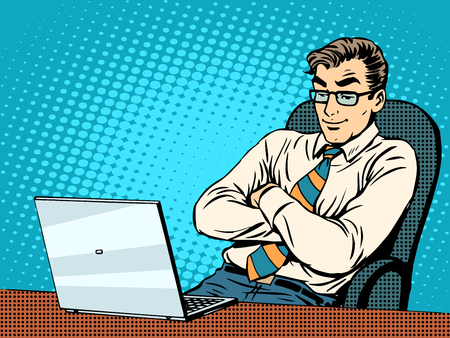 Good businessman at laptop pop art retro style. Work in the office. New technologies. The Internet and good news