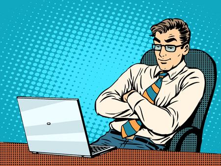 Guter Geschäftsmann auf Laptop-Pop-Art Retro-Stil. Die Arbeit im Büro. Neue Technologien. Das Internet und eine gute Nachricht