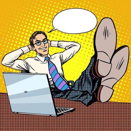 Szczęśliwy biznesmen relaks w miejscu pracy niedaleko laptop pop w stylu retro sztuki. Sukces finansowy. Dobry nastrój i pozytywne emocje. Nowa technologia Internet i komputery