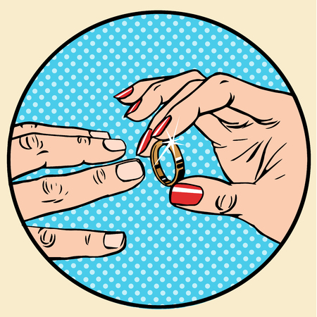 betrothal: Wedding female male gold betrothal wedding ring pop art retro style. The bride and groom, husband and wife. The ceremony of marriage.