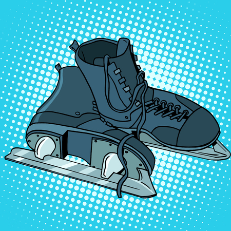figure skating: Men skates winter sports pop art retro style. Hockey and figure skating, running on ice. Sports equipment