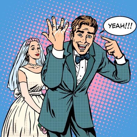Feliz novia y el estilo retro del arte pop de boda del novio. Hombre emocional con un anillo de bodas y mujer tranquila. Humor. El amor y las relaciones. Joyas y oro