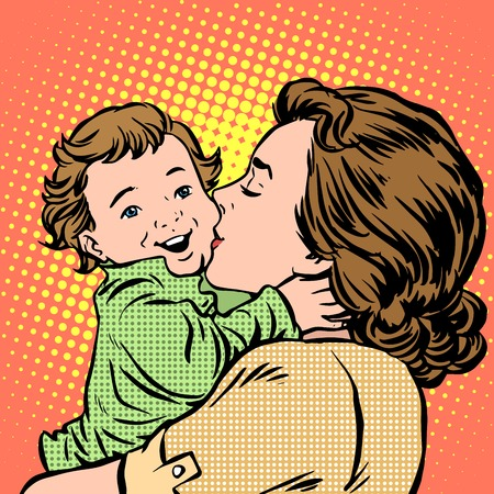 Mother kissing baby pop art retro style. Childhood and motherhood. Love women and son