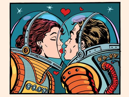 ポップなアート レトロ スタイル スペースの男性と女性の宇宙飛行士にキスします。バレンタインデー、結婚と愛。女の子と男の子。科学と宇宙。