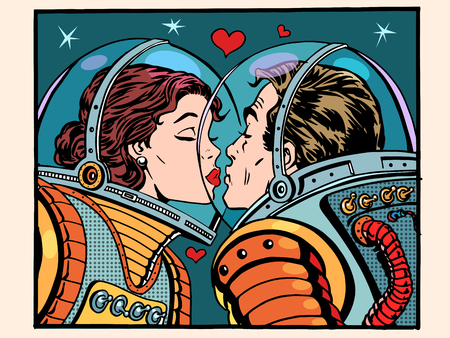 cartoon kiss: Kiss space man and woman astronauts pop art retro style. Valentines day, wedding and love. A girl and a boy. Science and the cosmos.