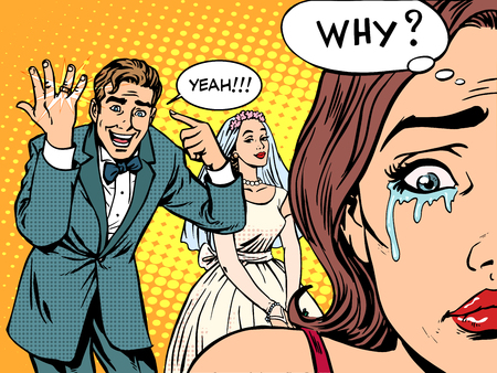 jealousy: Envy man woman wedding love pop art retro style. The woman was crying. Love Valentines day wedding engagement. Golden wedding ring. The couple relationship romance tears of sadness Illustration
