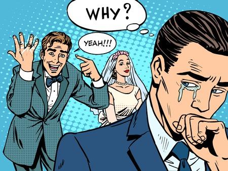 남자 여자가 결혼 사랑 팝 아트 복고 스타일을 부러워. 남자는 울고 있었다. 사랑 발렌타인 데이 결혼식 참여. 황금 결혼 반지. 슬픔의 부부 관계 로맨