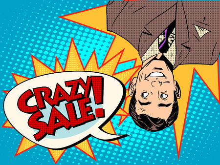 upside: Crazy sale announcement man upside down pop art retro style
