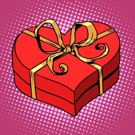 wedding gift: Red gift box in heart shape. Love Valentines day and wedding pop art retro style. A gold wedding ring. Sales and surprises