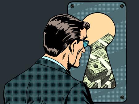 Financiële zekerheid man geld sleutelgat pop-art retro stijl. Elektronische betalingen en banken. Kwetsbaarheid en security. Spionage en hacking. Password sleutel deurslot.