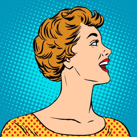 visage profil: Belle fille dans un pop art style rétro de l'affiche. jeune femme appelle positif Illustration