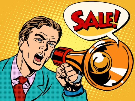 Agitator with megaphone announces sale pop art retro style. Business concept sales and discounts. Poster style. Ilustracja