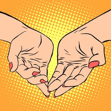 women's hand: Womens hand heart shape love romance Valentines day pop art retro style Illustration