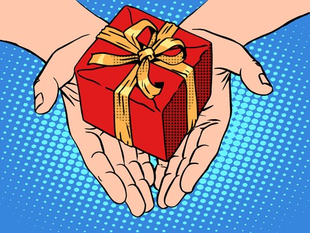 Male hands heart shape gift box pop art retro style. Romantic gift. Special surprise. A wedding ring or a gift for Valentines day. Ilustração