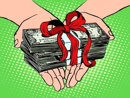 돈을 선물로. 금융 소득 팝 아트 복고 스타일입니다. 노동 비용. 임금. 추첨에서 상금. 화폐 상. 자선 및 기부
