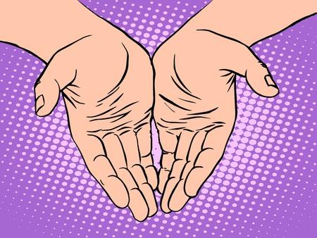 humanismo: Hombre de San Valent�n forma de palma coraz�n d�a estilo del arte pop retro. La mano del hombre. Amor romance y sentimientos. La humanidad y el humanismo