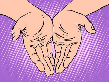 humanism: Male palm shape heart Valentines day pop art retro style. The hand of man. Love romance and feelings. Humanity and humanism