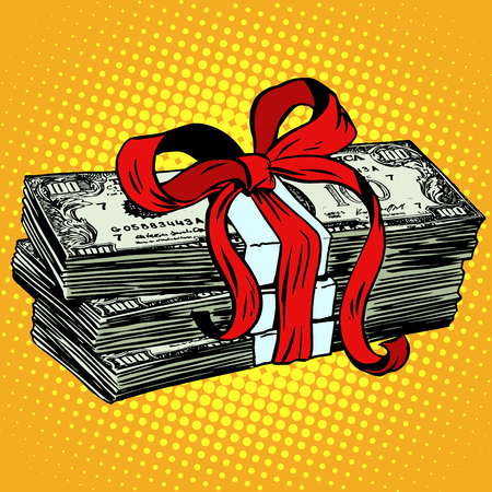 retro style: Money as a gift charity and donation pop art retro style. Dollars Finance currency. Business concept financial contribution Illustration